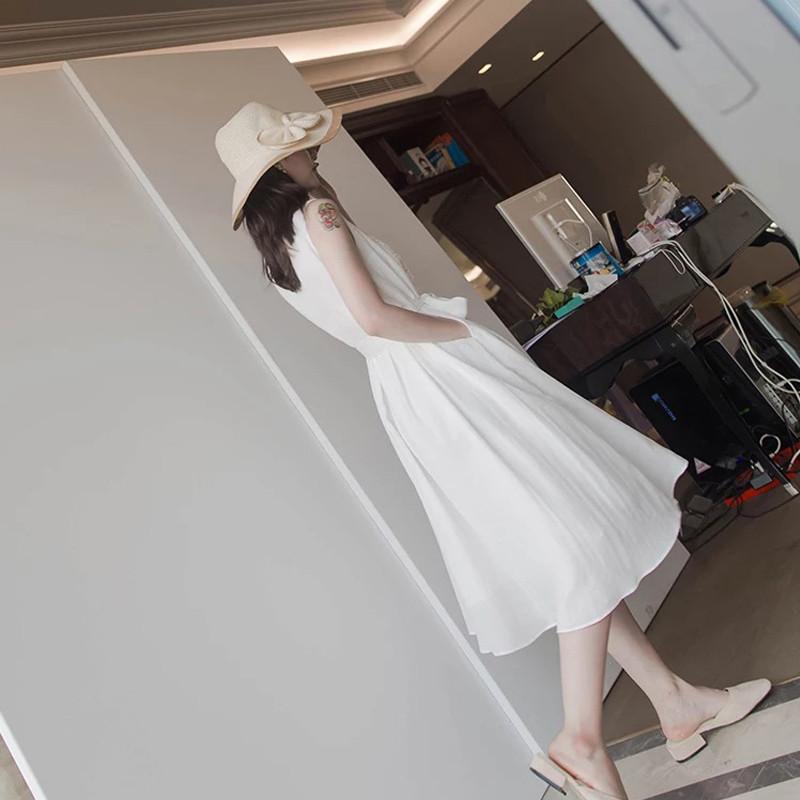 机气质夏天白色裙子仙高个子约会