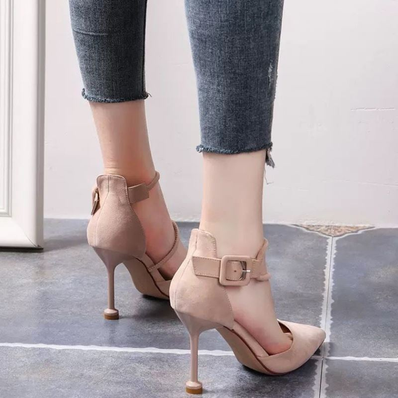 Little fresh French girls high heels womens thin heel pointed ankle strap button 2020 new hollow single shoes