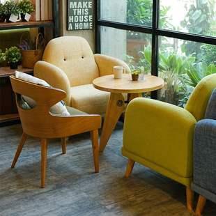 咖啡店沙发简约北欧时尚休闲布艺甜品奶茶店沙发卡座茶几桌椅组合