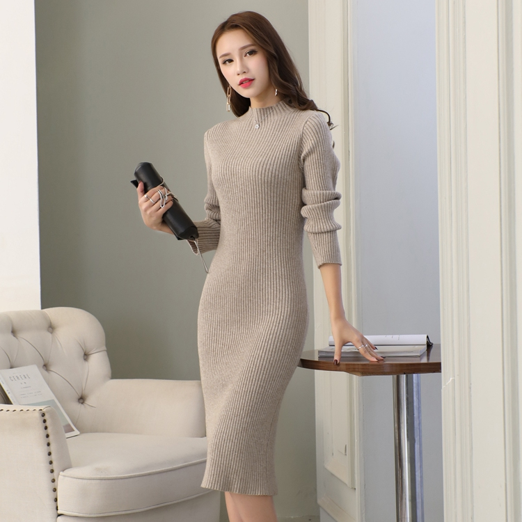 加厚保暖修身针织衫过膝毛衣裙