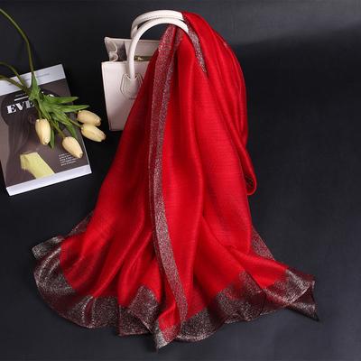 杭州商场真丝羊毛混纺长款喜庆大红色围巾春秋冬季经典百搭丝巾女