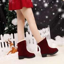 冬天女孩加绒大棉鞋可爱高筒长靴低中跟少女长桶皮靴青年雪地靴子