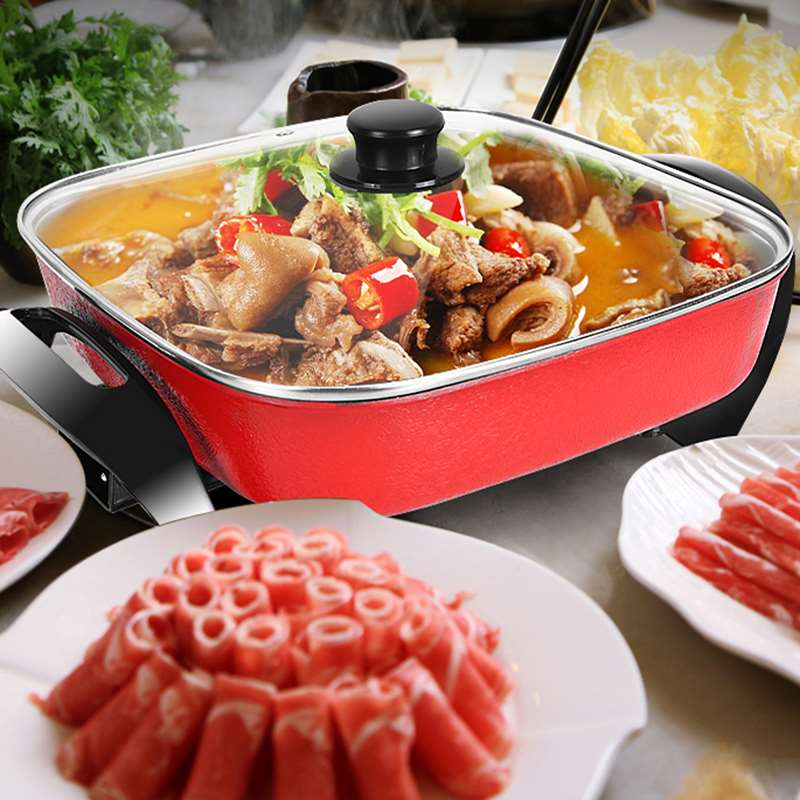 Multi functional electric frying pan household cooking hot pot integrated non stick electric frying steaming hot pot small household appliances kitchen appliances