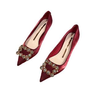 2020年新款百搭法式小ck高跟鞋女細跟性感紅色秀禾結婚鞋新娘單鞋