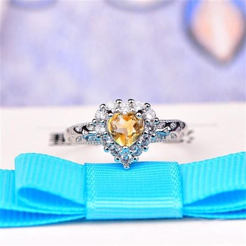 Olivine love heart ring womens opening Topaz simple fresh trendy fashion jewelry