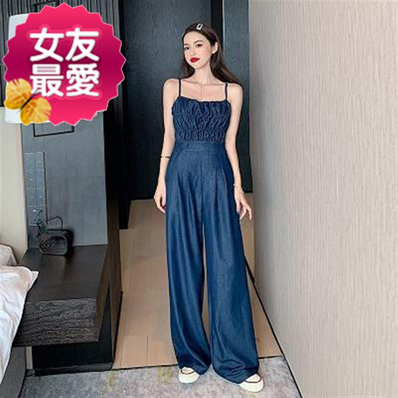 Strapless strapless bra denim Jumpsuit womens summer long 02020 new summer thin one piece wide leg length