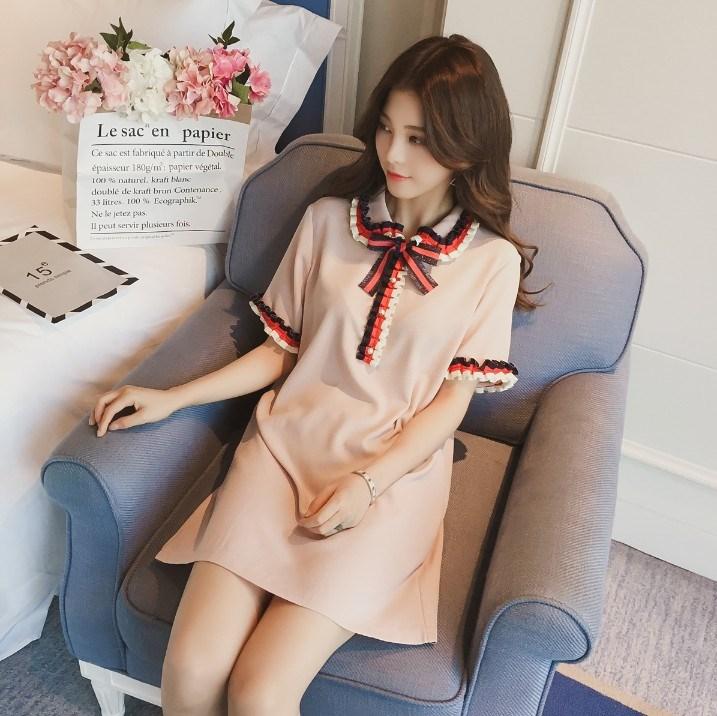 2019夏季新款韩版中长款女装蝴蝶结短袖t恤连衣裙上衣娃娃领宽松