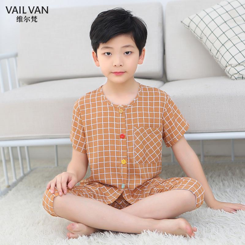 男女童棉绸睡衣夏季薄款男孩宝宝绵绸儿童空调家居服短袖长裤套装