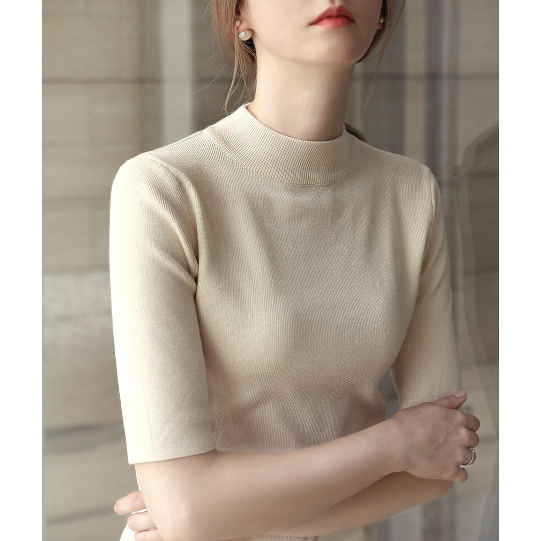 2020新款秋季五分袖打底上衣半高圆领中袖针织衫修身紧身毛衣女薄