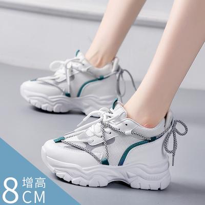 夏季回力女鞋网鞋内增高老爹鞋女2021年新款夏季透气小白爆款女鞋