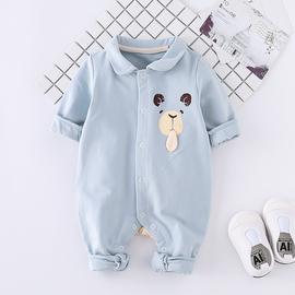 婴儿春装2020新款春秋洋气可爱超萌网红男宝宝连体衣外穿幼儿衣服图片