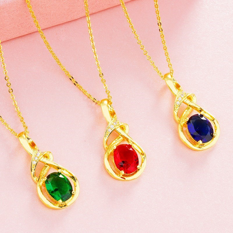 2020 new YUESHA gold fine chain inlaid with gem, agate stone pendant, pure copper imitation gold jewelry necklace, female style