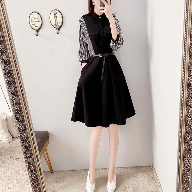 格子裙黑色连衣裙收腰显瘦气质女神范秋装2020新赫本风小黑裙9580