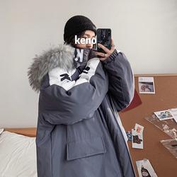 19冬季新款 港风ins 毛领连帽情侣中长款棉衣 男外套 MY18/P135