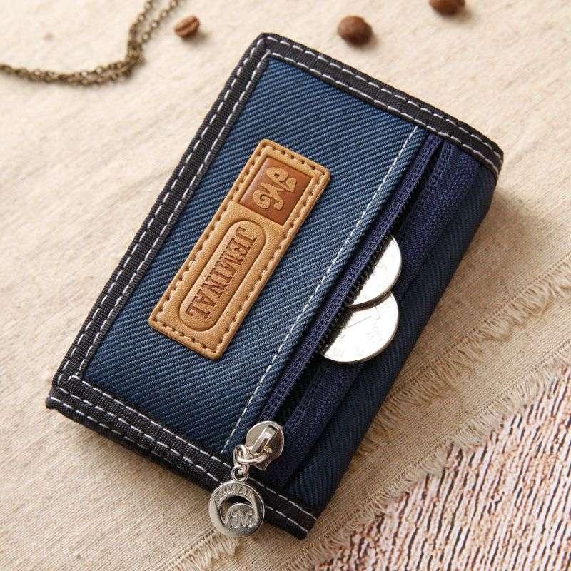 Mens canvas nylon casual short three fold Wallet student double zipper lattice change position small money folder Fashion Wallet