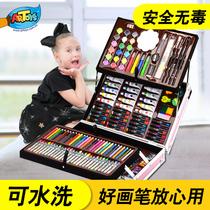 儿童画笔礼盒画画工具小学生水彩笔绘画套装美术学习用品幼儿园女