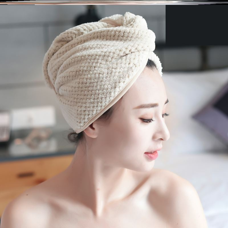 Dry hair hat, strong water absorption, quick drying head scarf, hair wiping, lovely bathing cap, thickening, long hair, bathing, girls dry hair scarf