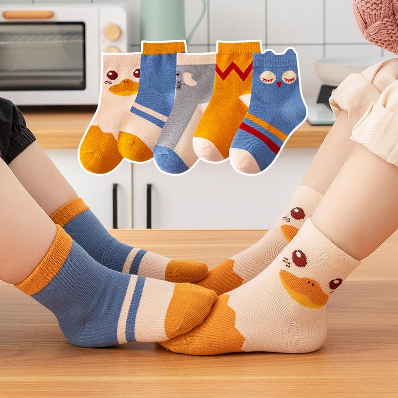 儿童袜子春秋薄款纯棉男童女童卡通宝宝袜中大童全棉中筒袜春夏季