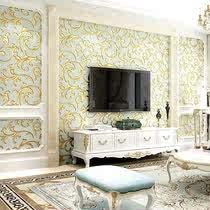 卧室婚房客厅有图案壁纸电视背景墙墙纸无纺布温馨家装主材