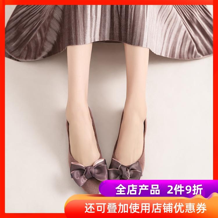 浅口船鞋软底2020春款鞋女韩版夏季蝴蝶结软妹尖头单鞋平底鞋子