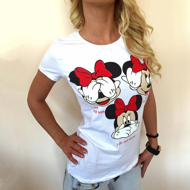 Summer T Shirt Women Casual Mickey Mouse Tees2018T恤女士tops