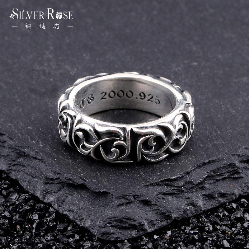 Punk Thai silver retro eternal rattan ring womens 925 Sterling Silver Japanese and Korean fashion personalized ring for lovers