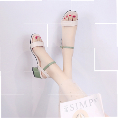 High heeled shoes women 2020 new coarse heel 7 cm summer sandals womens shoes with one belt fashion.