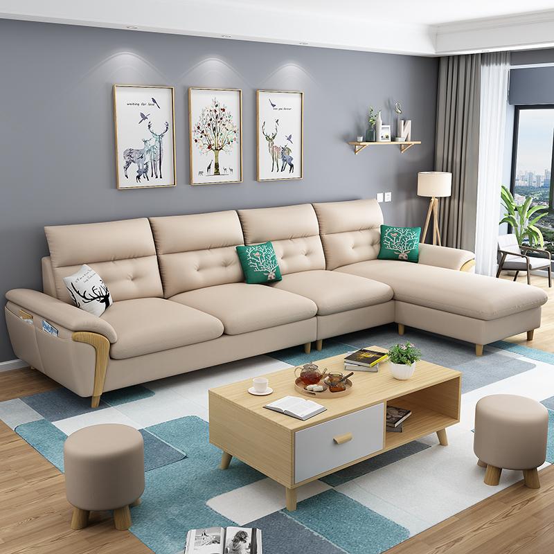 北欧布艺沙发小户型客厅整装现代简约三人位组合经济型乳胶布沙发