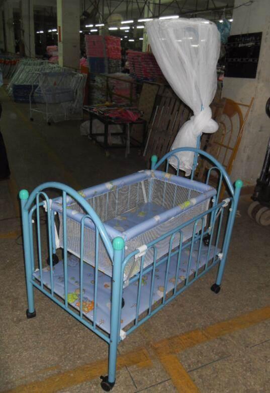 多功能简易游戏婴儿床推车床摇床便携式儿童宝宝铁床带滚轮送蚊帐