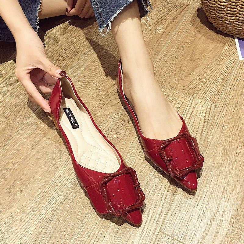 Flat toe pointed single shoes for womens 2019 spring and autumn new Ladybug shoes for all kinds of students shallow soft sole flat heel Korean boat shoes trend