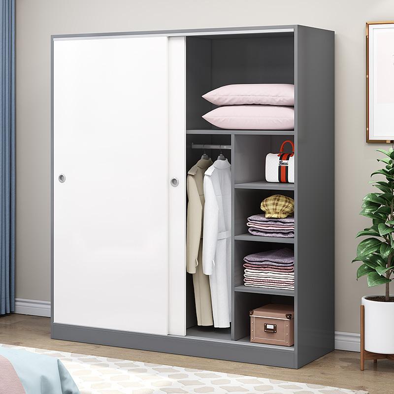 臥室實木衣柜兒童推拉門簡約現代經濟型組裝柜子出租房大容量衣柜