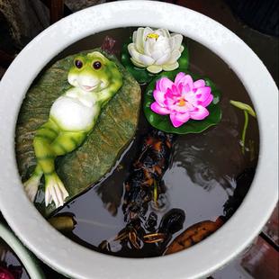 水缸造景鱼缸鱼池装饰造景户外花园创意仿真鸭子青蛙流水漂浮摆件
