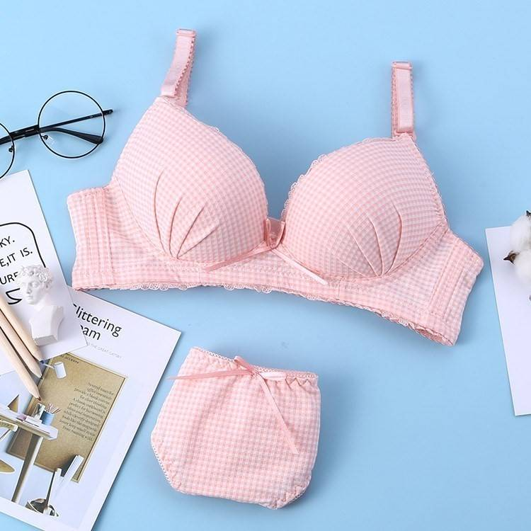 Girls simple double shoulders with pink underwear suit womens no steel ring gathered adult bra womens lace edge multicolor