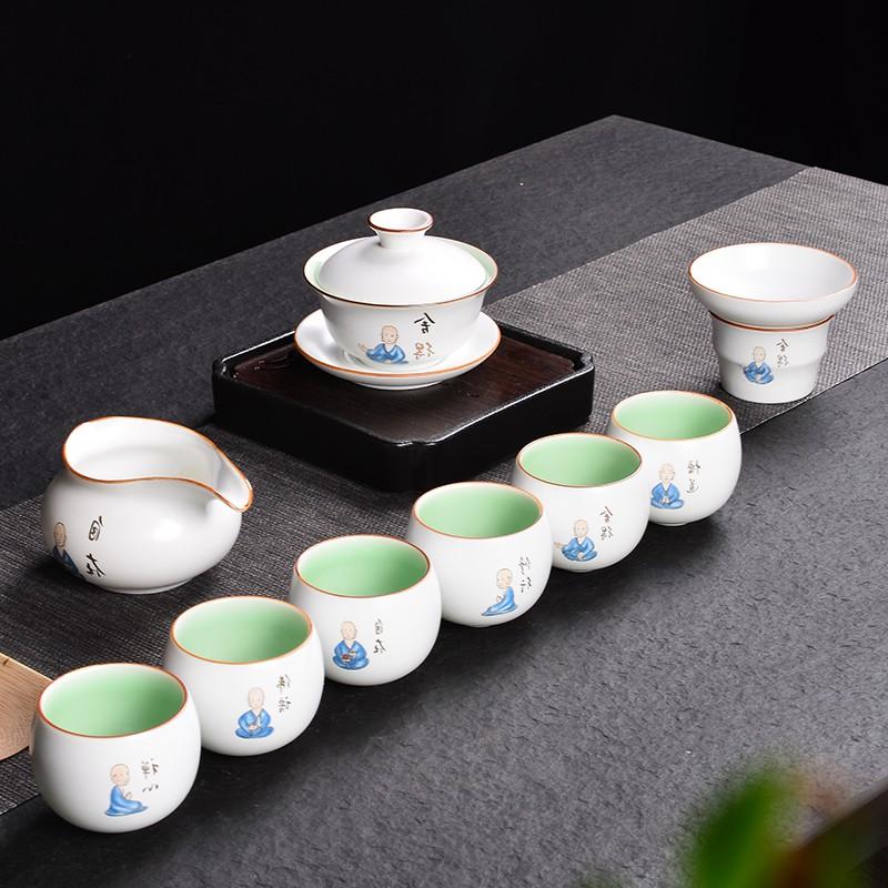 功夫茶具整套装茶杯子6只装陶瓷家用小创意现代简约盖碗佛系中式