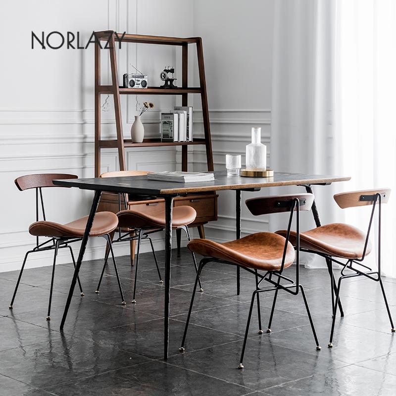 北欧铁艺餐椅实木靠背椅子餐厅桌椅