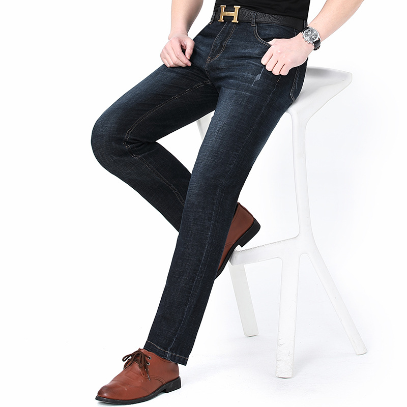 New product huagongzi 2021 mens jeans middle age fashion new straight tube business leisure pants package