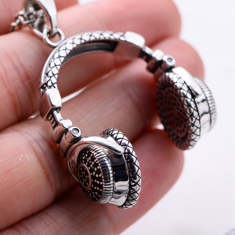 Ring rock silver boutique fashion talent style 925 silver set dress fashion music headset pendant s man