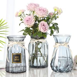 【三件套】玻璃花瓶彩色透明水培富贵竹百合条纹花瓶客厅插花摆件