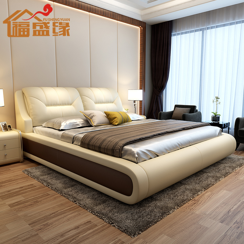Bed Nordic modern simple double master bedroom leather bed soft bag 1.8 tatami box storage luxury wedding bed furniture