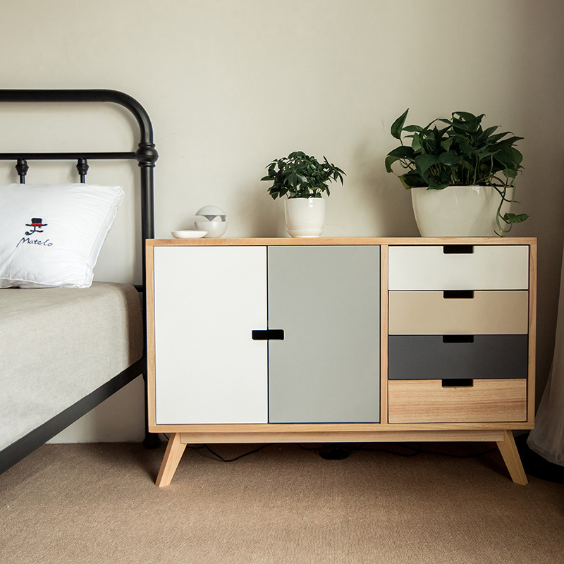 Solid wood cupboard storage cabinet chest of drawers Nordic cabinet storage cabinet simple modern bedroom chest of drawers special price IKEA