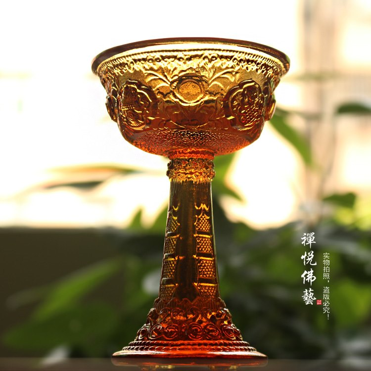 Ancient glass eight auspicious high foot seven gems for the cup holy water cup hidden secret Buddhist supplies Buddhist hall Buddha with amber