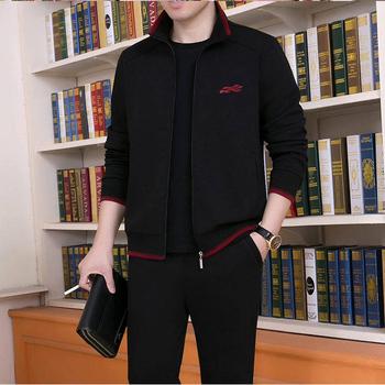 男士秋季新款时尚两件套中青年运动休闲加厚爸爸装夹克三件套装潮