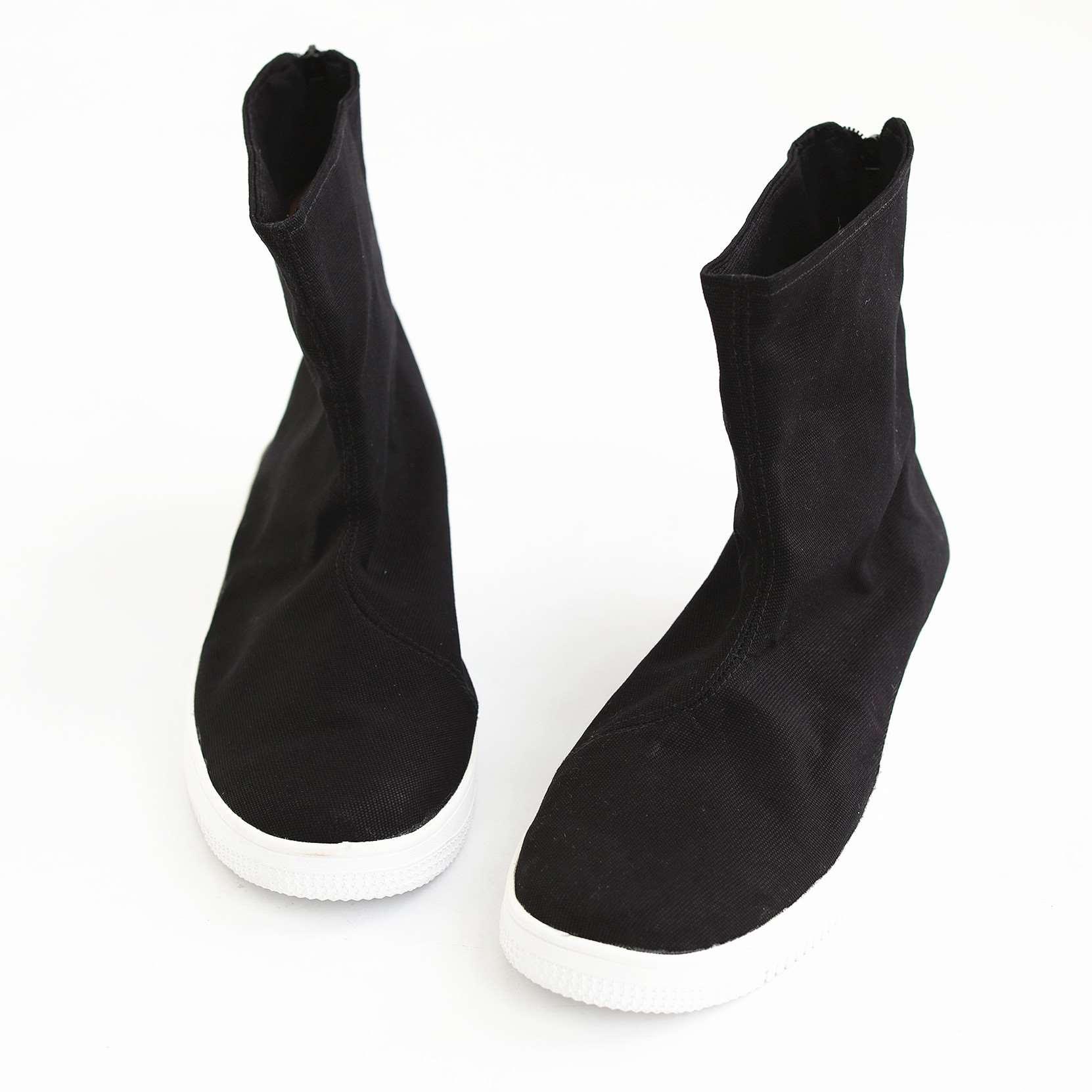 春秋新款中国风男鞋短筒靴子平底布靴复古官靴潮靴单靴拉链男靴子