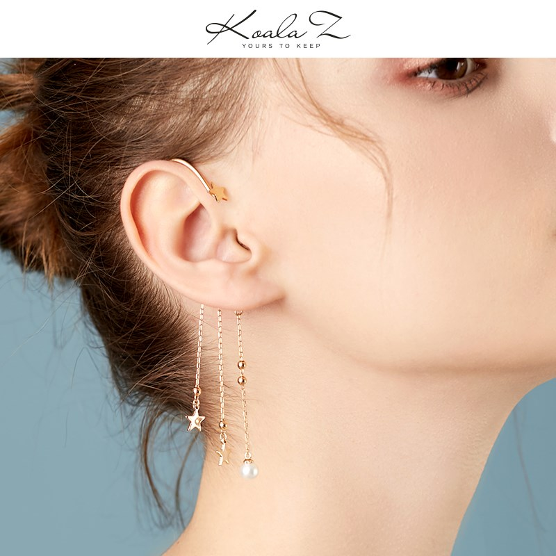 Pearl Ring Earrings tassel Pearl Earrings temperament long one piece earhook Earrings without earholes