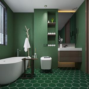 自粘墨绿色简约卫生间防水贴纸地板耐磨瓷砖墙纸浴室加厚北欧装饰