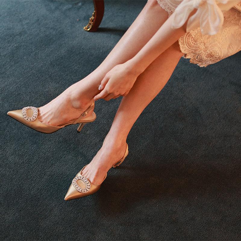 Bridal and Bridesmaid Wedding Shoes 2020 spring celebrity style Silk Slim heels black high heels womens Rhinestone pointed girl sandals