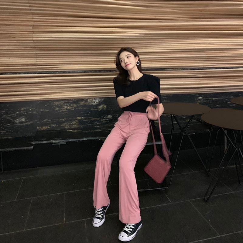 钱夫人长裤子女2019新款冰丝休闲裤