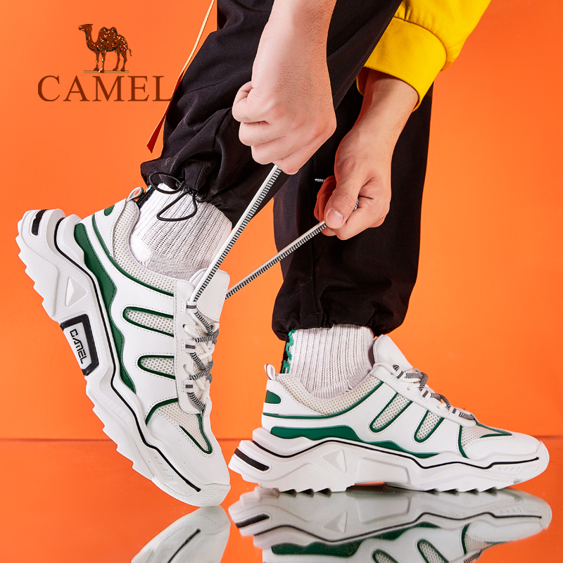 Camel mens shoes 2020 new sports shoes running shoes fashion shoes sports breathable all-around shock absorption mesh mens shoes white shoes