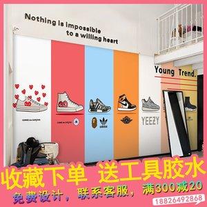 时尚潮鞋球鞋店墙纸个性潮流潮牌背景墙装饰壁画服装店鞋子店壁纸