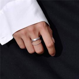 925纯银双层开口戒指女胖手个性圆珠链磨砂光面冷淡风可调节指环